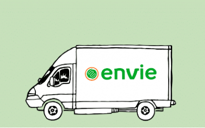 Envie : photo d'un fond vert clair avec dessin camionnette floquée