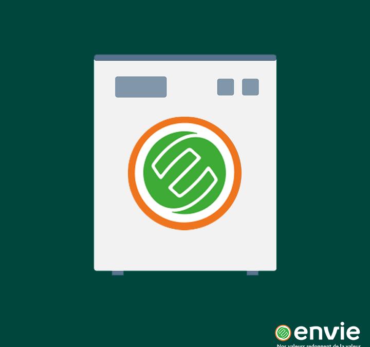 Envie : visuel avec une machine à laver et le logo Envie
