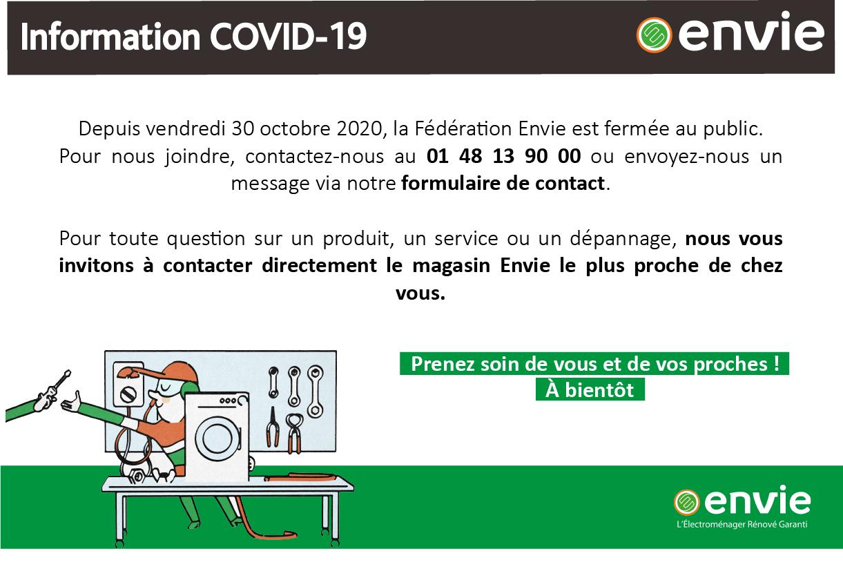 Information COVID, octobre 2020 - La Fédération Envie fermée au public mais joignable par téléphone ou via le formulaire de contact
