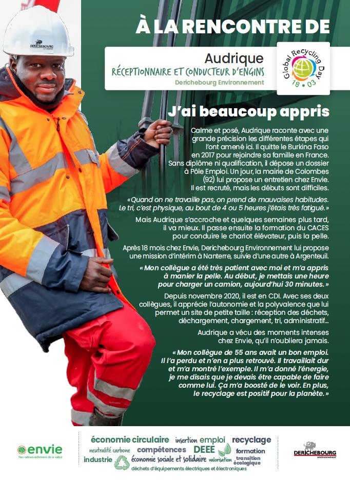 Journée mondiale du recyclage : portrait de Audrique, réceptionnaire et conducteur d'engins chez Derichebourg Environnement.