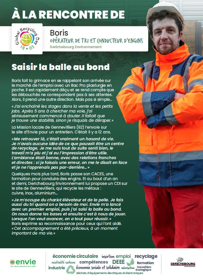 Journée mondiale du recyclage : portrait de Boris, opérateur de tri et conducteur d'engins chez Derichebourg Environnement.