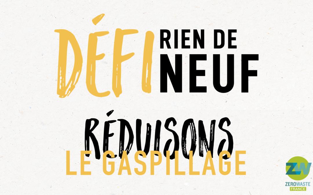 """Visuel du logo du Défi Rien de Neuf avec la mention """"Réduisons le gaspillage"""""""