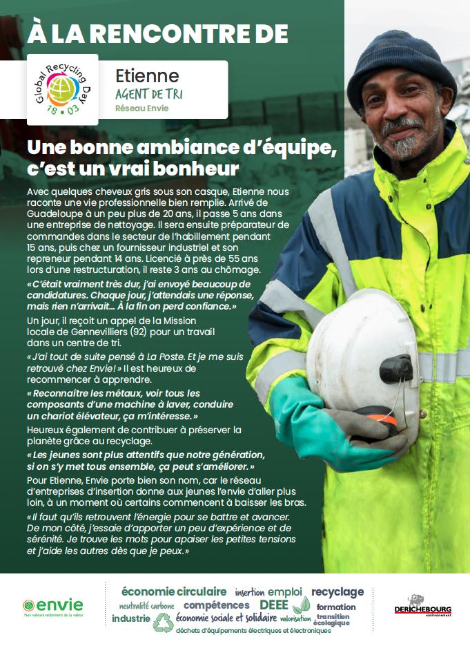 Journée mondiale du recyclage : portrait d'Etienne, agent de tri à Envie Gennevilliers.